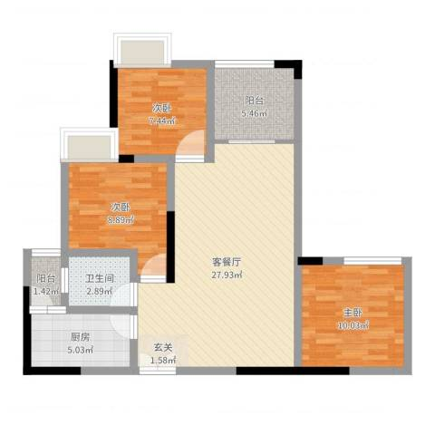 兴盈德润城3室2厅1卫1厨86.00㎡户型图