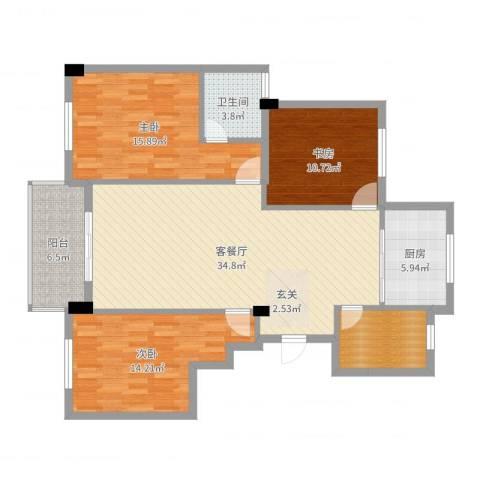 阳光美地3室2厅1卫1厨121.00㎡户型图