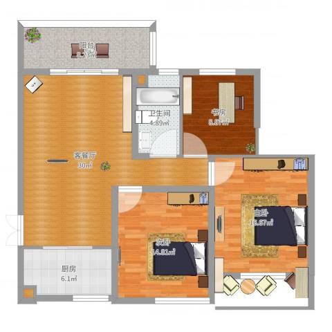 兴科明珠花园三期3室2厅3卫1厨112.00㎡户型图