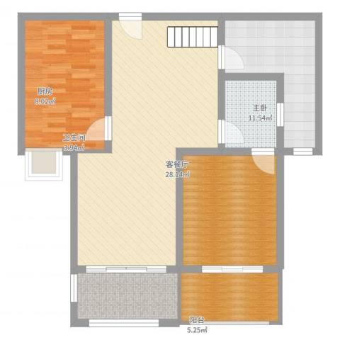 科倍尚城1室2厅1卫1厨92.00㎡户型图