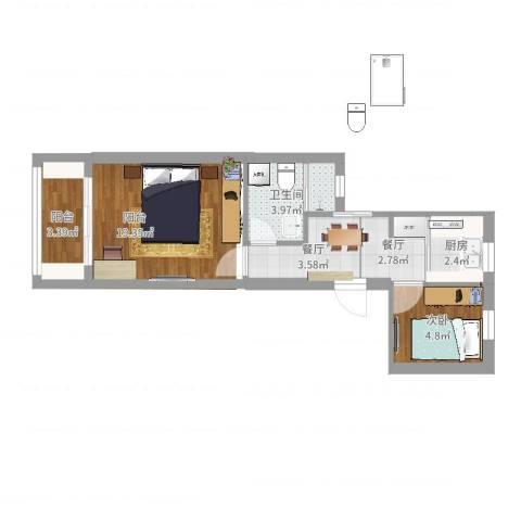 松林小区1室2厅1卫1厨26.00㎡户型图