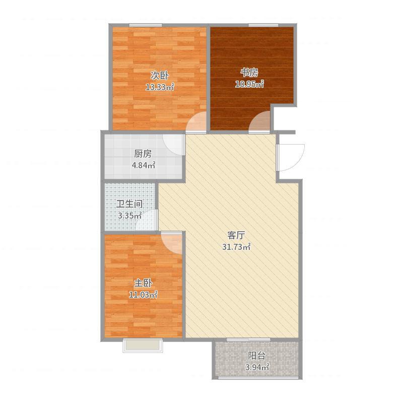 大杨务1-1三居户型户型图