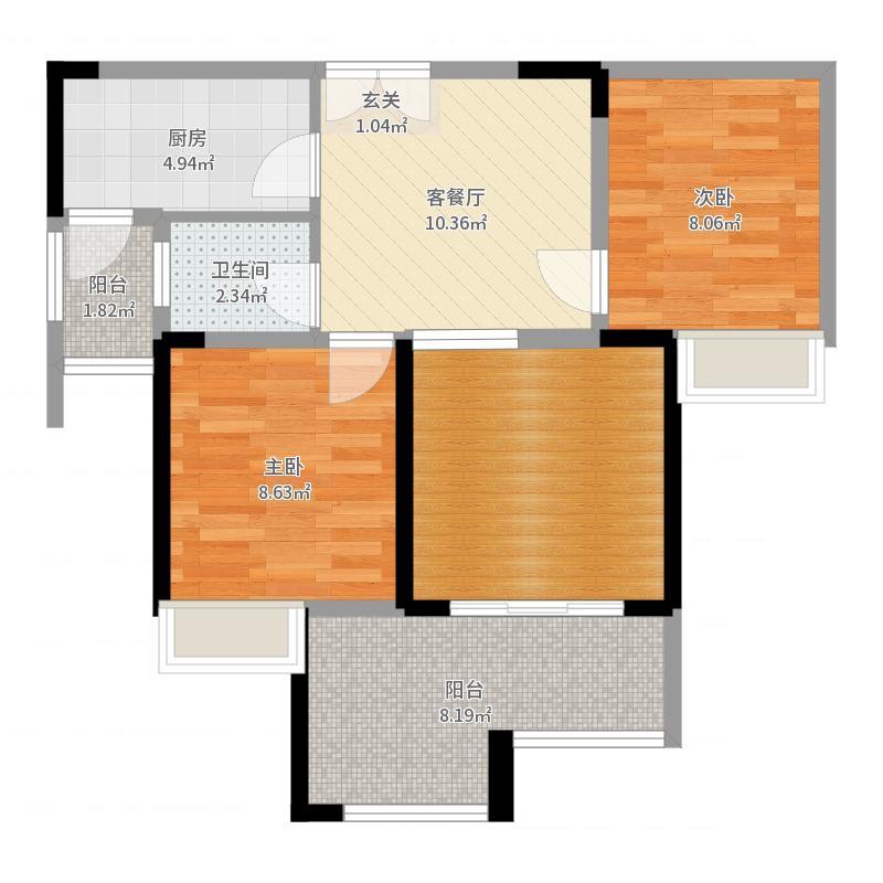 金融街金悦熙城一期1号楼标准层C2户型-副本户型图