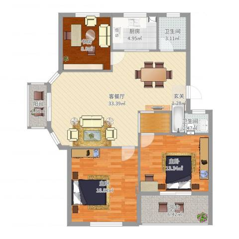 锦隆・时代华庭3室2厅2卫1厨117.00㎡户型图