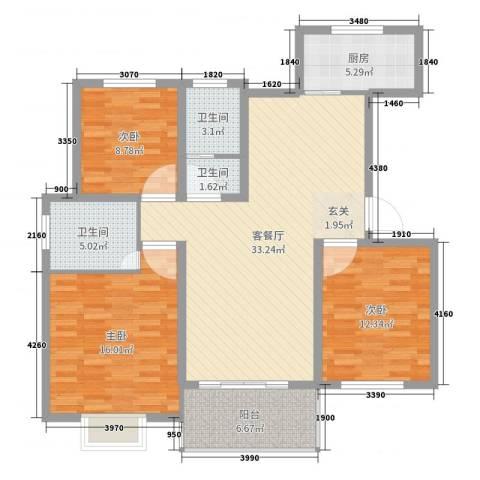 中亚・翰林华府3室2厅3卫1厨115.00㎡户型图