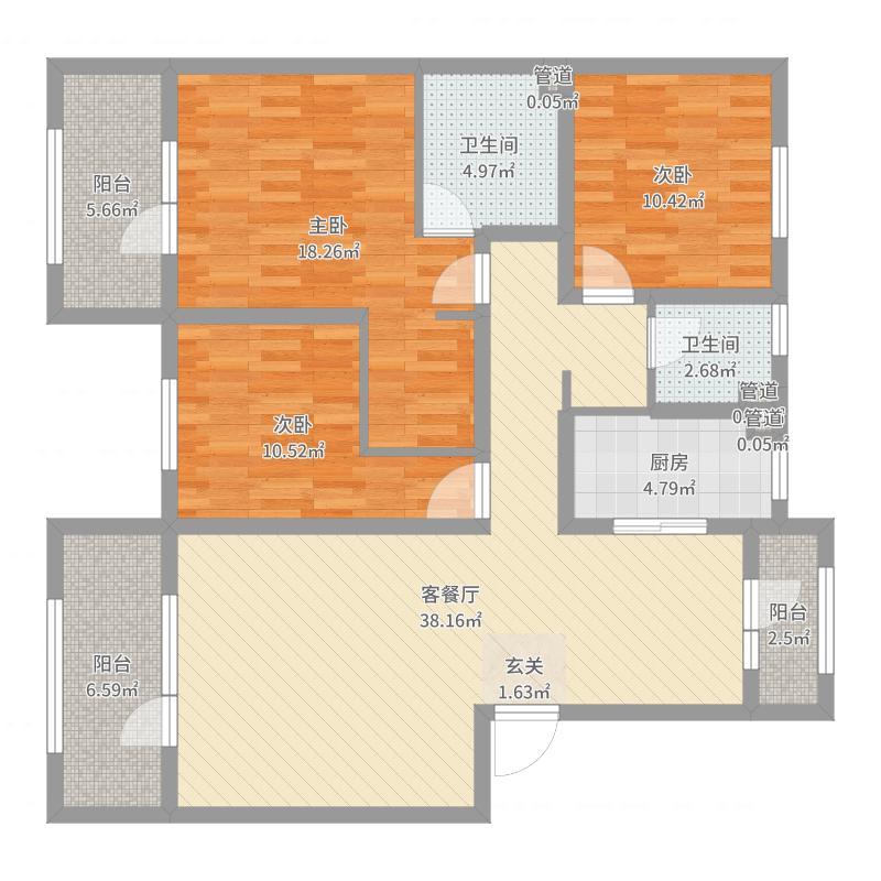 红星威尼斯庄园137.23㎡一期洋房E1户型3室3厅2卫1厨-副本户型图