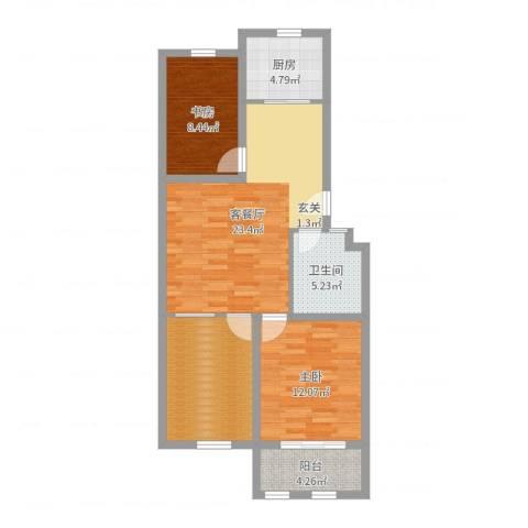 凤鸣郡和墅2室2厅1卫1厨86.00㎡户型图