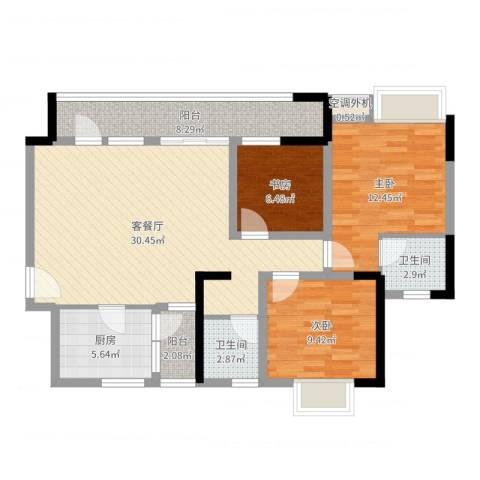 希尔安江上城3室2厅2卫1厨101.00㎡户型图