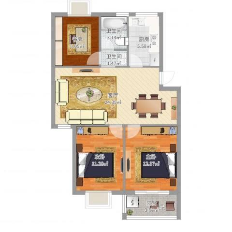 宁沁家园3室1厅2卫1厨88.00㎡户型图