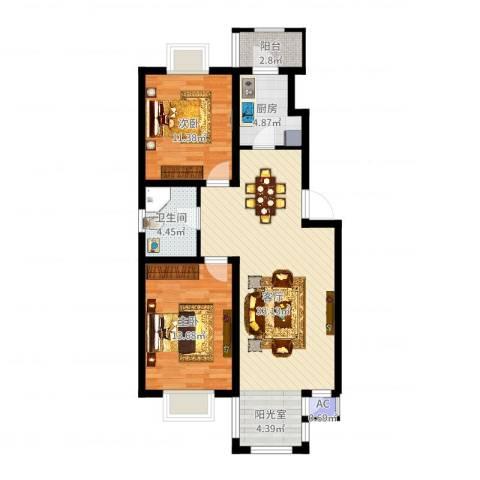 第六大道第博雅园2室1厅1卫1厨89.00㎡户型图