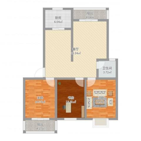 香林・丽景湾3室1厅1卫1厨124.00㎡户型图