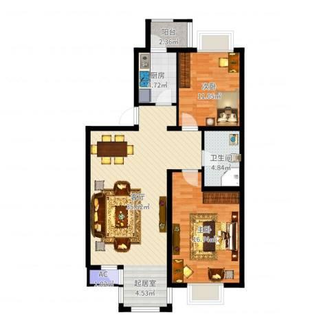 第六大道第博雅园2室1厅1卫1厨95.00㎡户型图