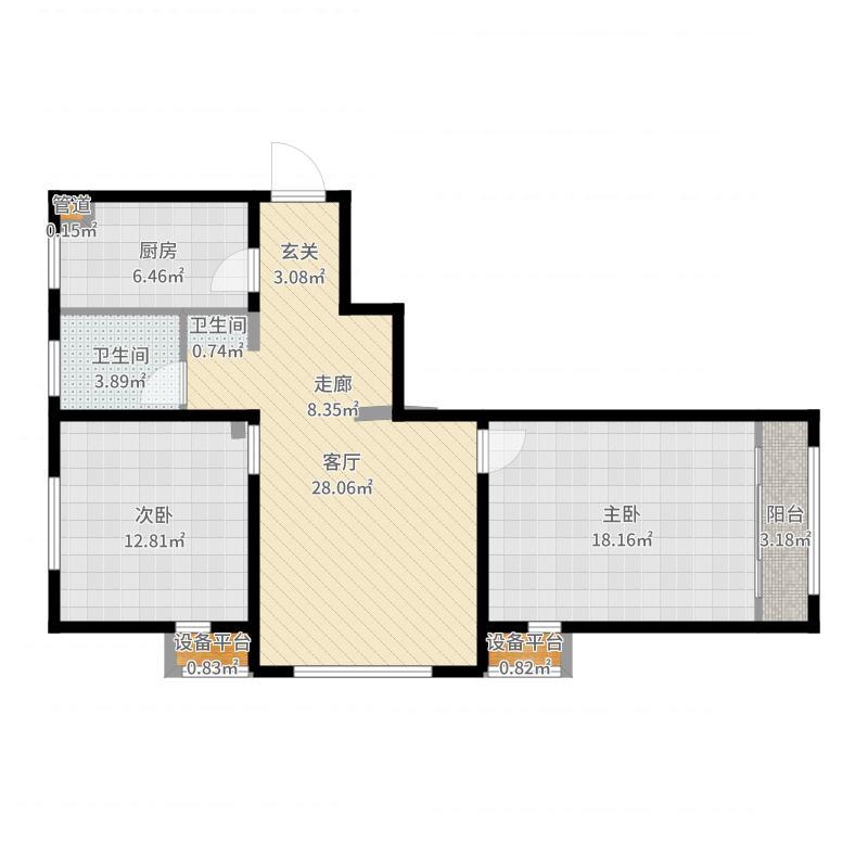 华城景苑84.00㎡二期高层标准层G户型户型图