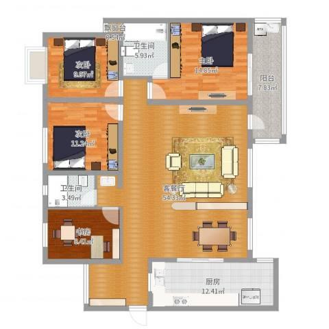 龙江花园4室2厅2卫1厨161.00㎡户型图