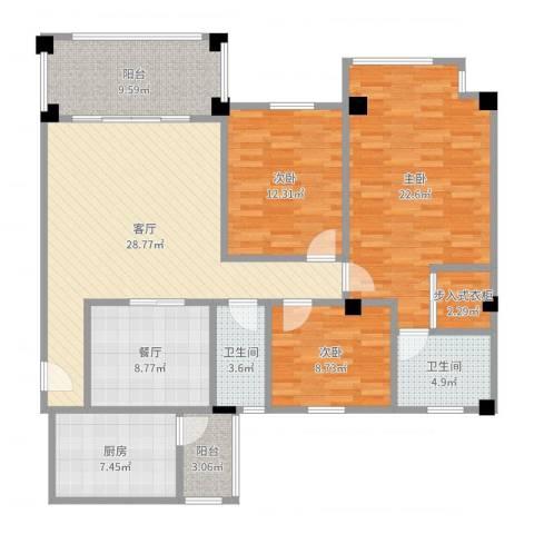南沙碧桂园3室2厅2卫1厨140.00㎡户型图