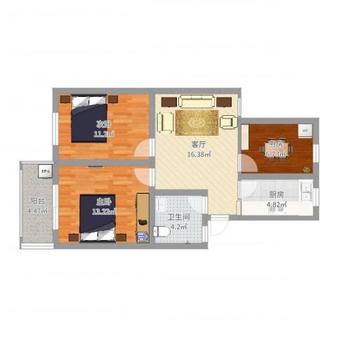 兴园小区3室1厅1卫1厨76.00㎡户型图