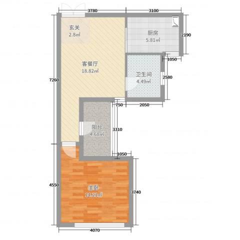 石林中心城1室2厅1卫1厨60.00㎡户型图