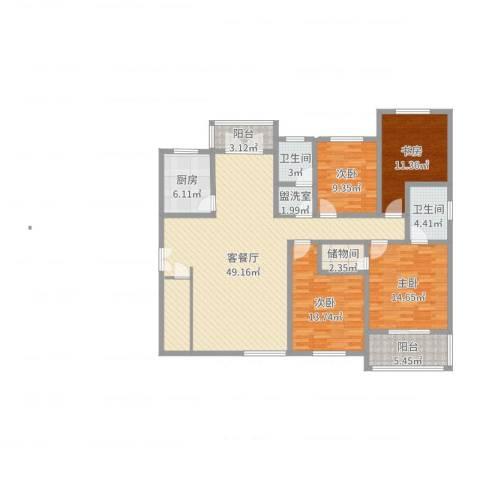 中山小区4室4厅2卫1厨156.00㎡户型图
