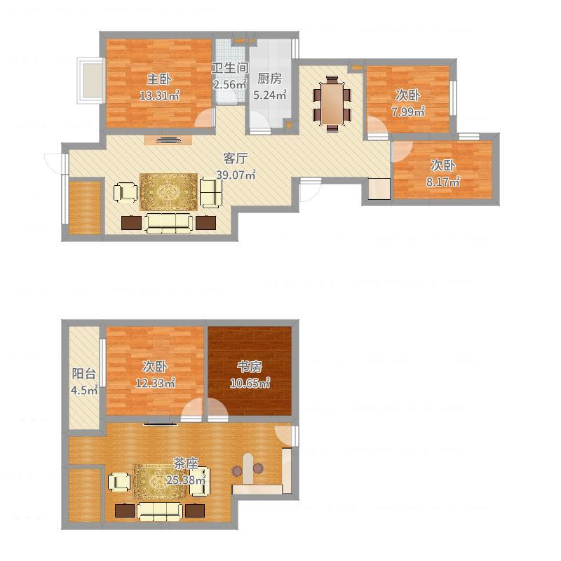 学府澜湾-原楼梯位置-方案户型图