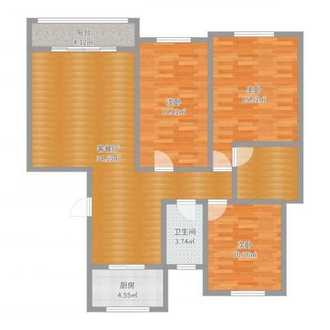 五洲龙湾3室2厅1卫1厨117.00㎡户型图