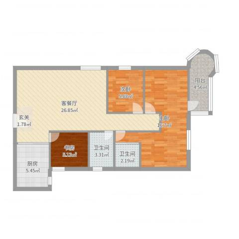 明月花园3室2厅2卫1厨88.00㎡户型图