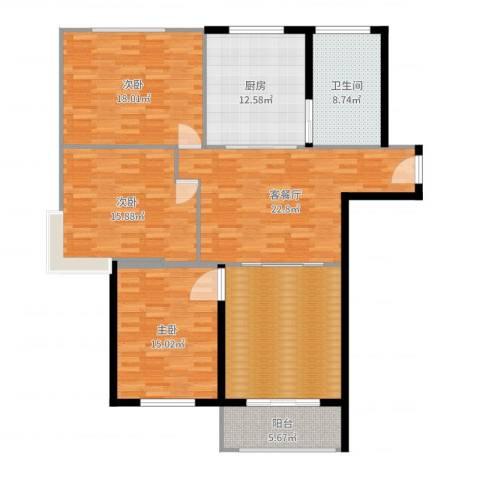 好世鹿鸣苑3室2厅1卫1厨145.00㎡户型图
