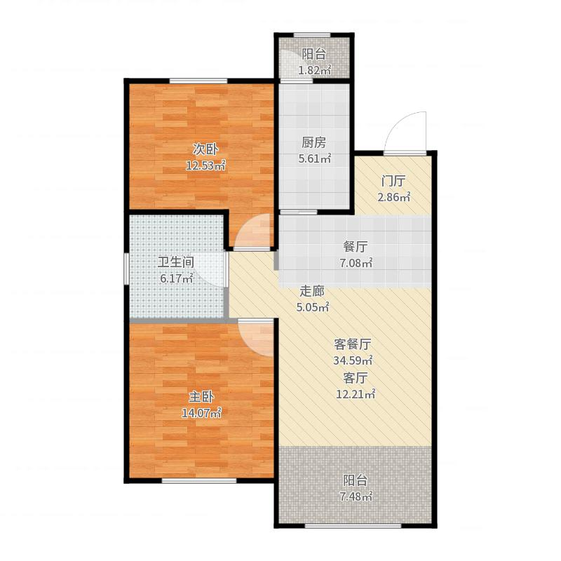 中海寰宇天下87.00㎡两室两厅,使用面积57㎡户型2室2厅1卫-副本户型图