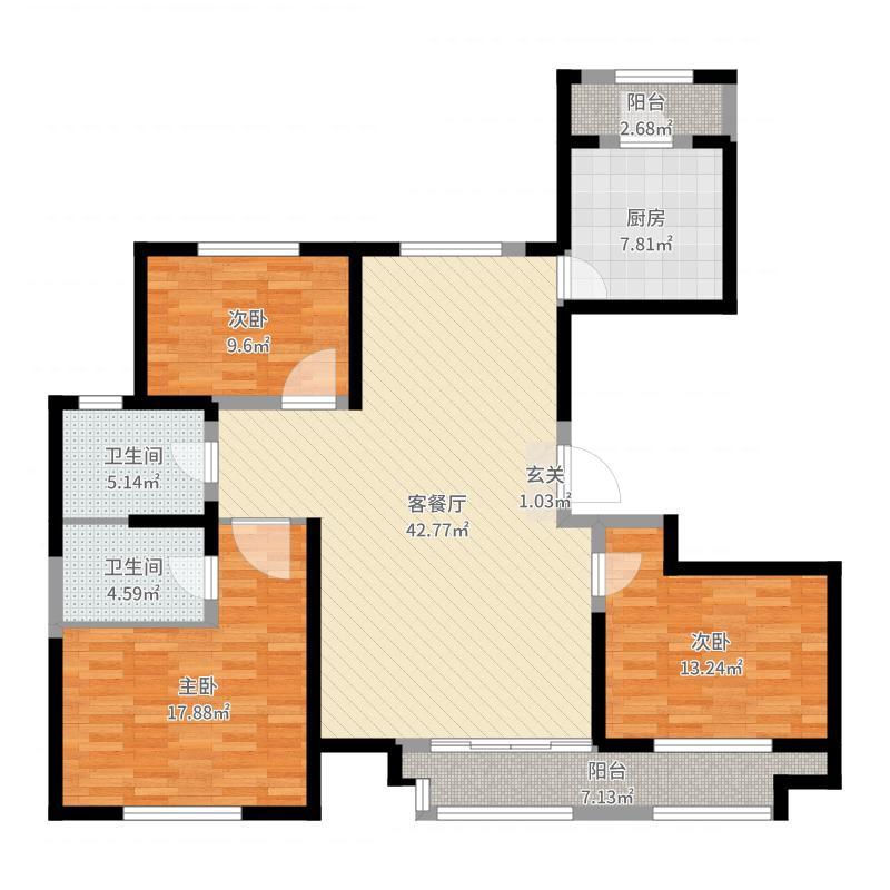 广龙苑135.00㎡E2、E3户型3室3厅2卫1厨-副本户型图