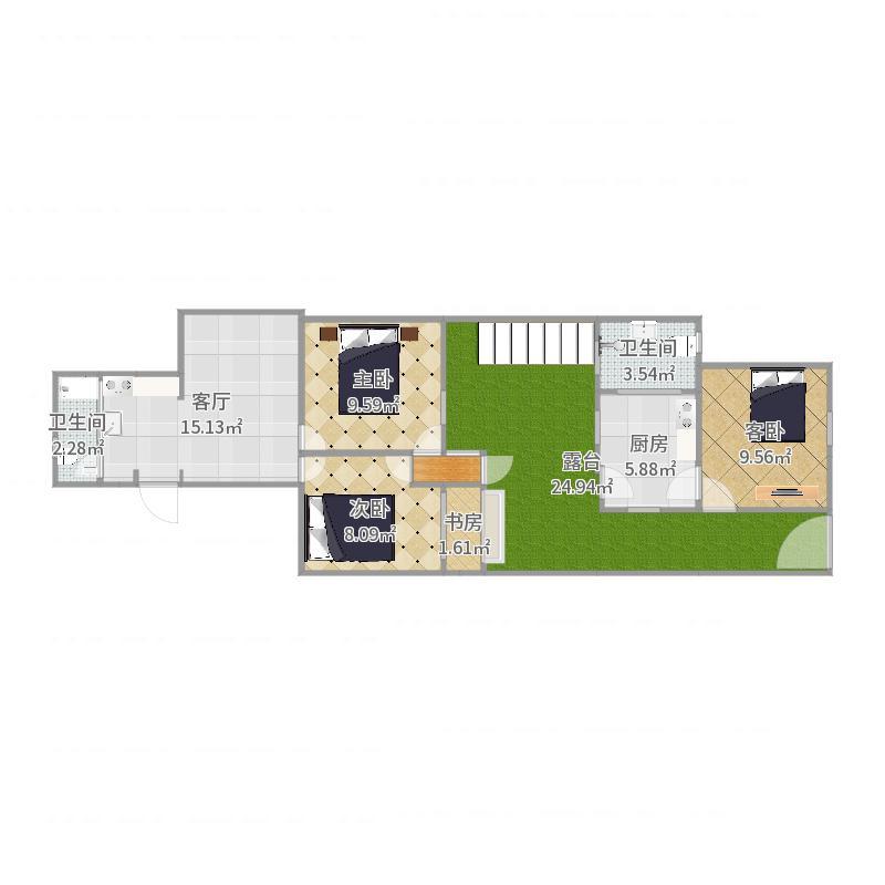 卫生间隔离和一个卧室开一个门户型图