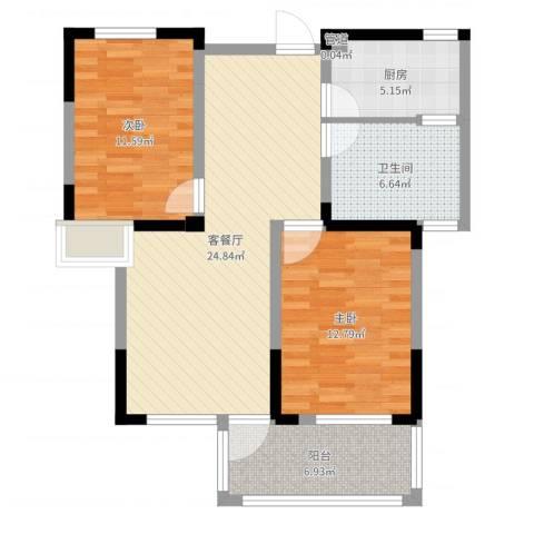 名邦西城秀里2室2厅1卫1厨85.00㎡户型图