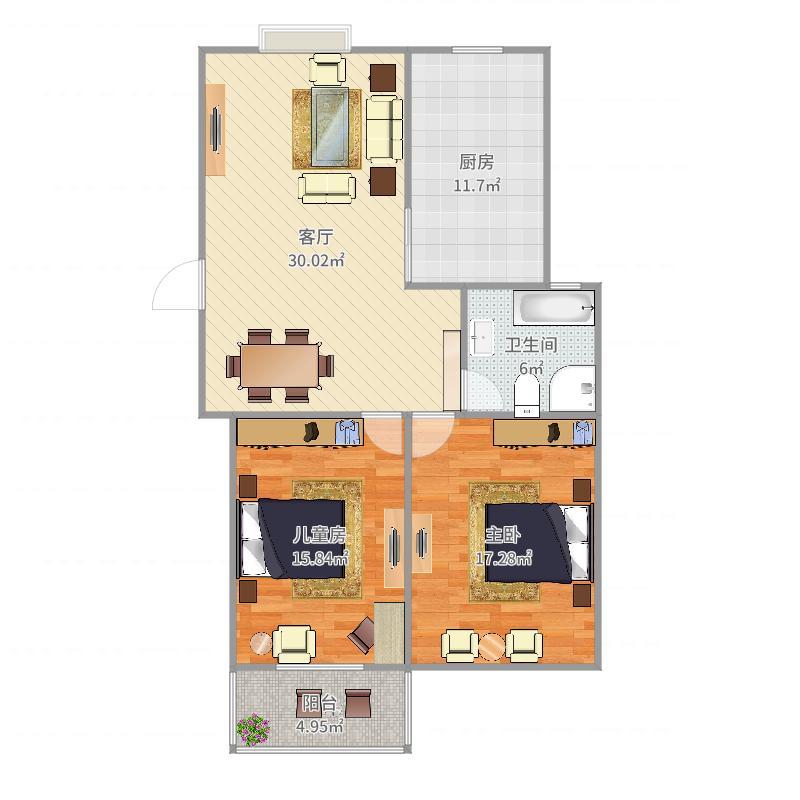 两室一厅一卫户型图