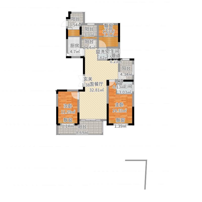 弘辉首馥147.50㎡2期1#楼西边套5#楼东边套户型3室2厅2卫1厨-副本户型图