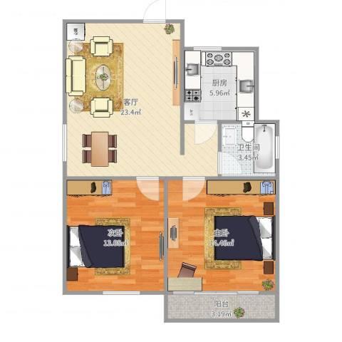 美仁新村2室1厅1卫1厨79.00㎡户型图