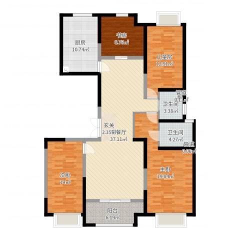 中大未来城4室2厅2卫1厨147.00㎡户型图