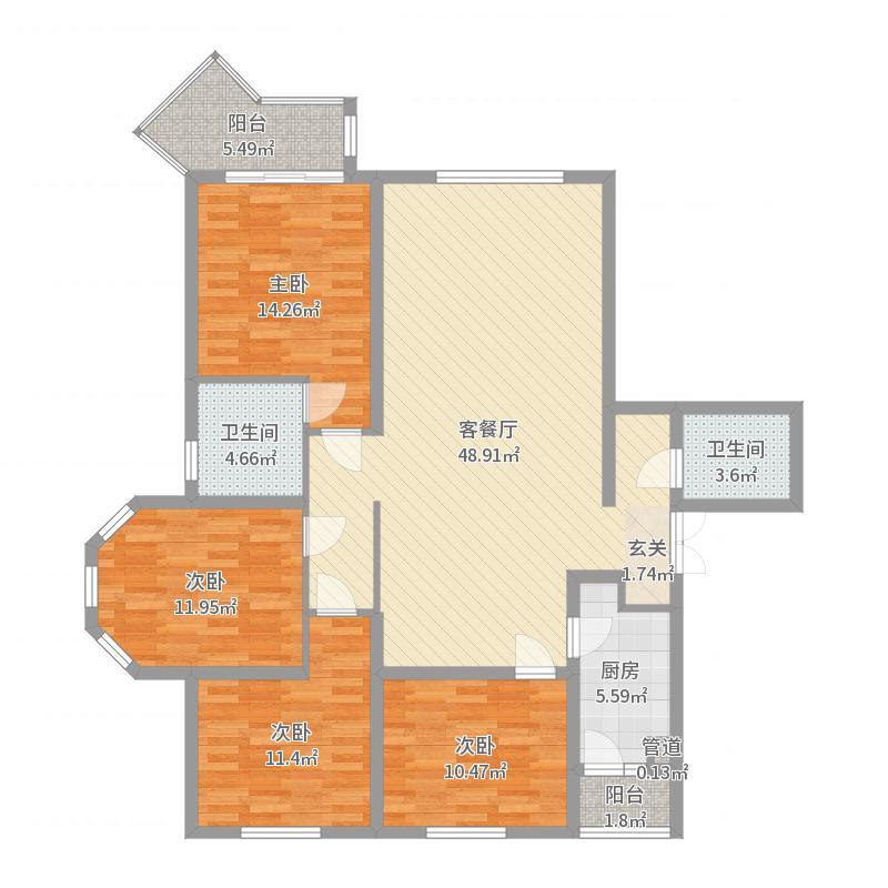 西城华府12-1-1801户型图