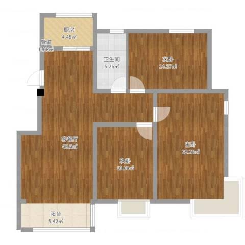 19803室2厅1卫1厨125.00㎡户型图