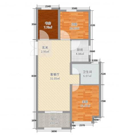 上城一号3室2厅1卫1厨98.00㎡户型图