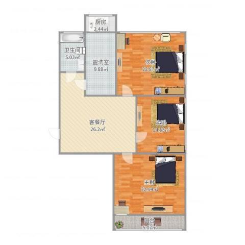 科技大学宿舍3室4厅1卫1厨136.00㎡户型图