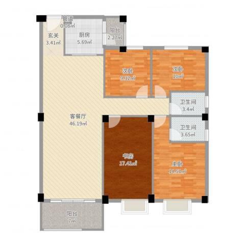 汉基花园4室2厅2卫1厨149.00㎡户型图