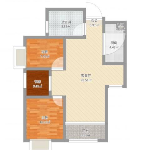 湄公河畔3室2厅1卫1厨80.00㎡户型图