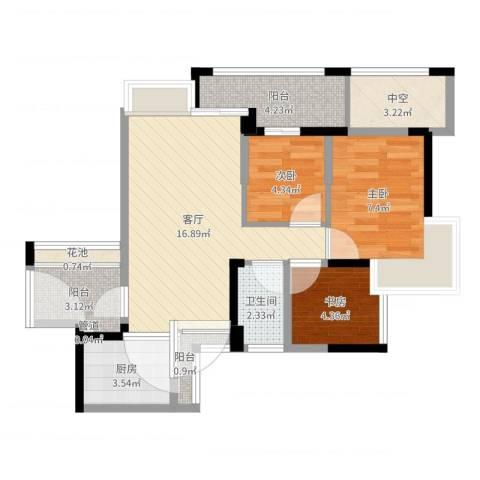 中海康城国际3室1厅1卫1厨64.00㎡户型图