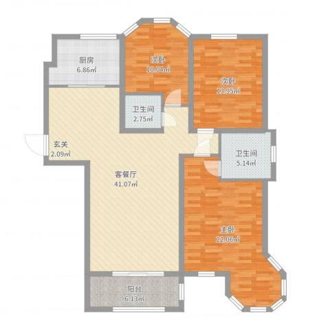 香格里拉水岸绿城3室2厅2卫1厨135.00㎡户型图