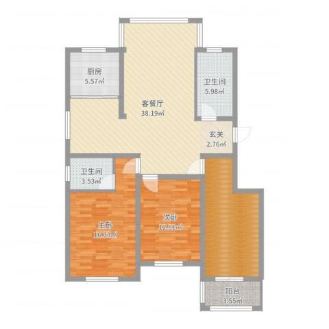 银泰花园2室2厅2卫1厨125.00㎡户型图