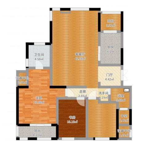 金地澜悦2室2厅1卫1厨131.00㎡户型图
