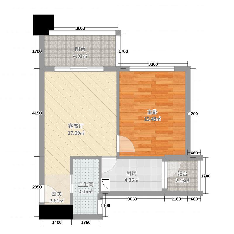 西锦国际58.59㎡2期4#1单元L2户型1室1厅1卫1厨