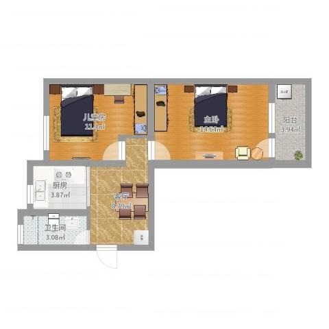 南炼二村2室1厅1卫1厨57.00㎡户型图