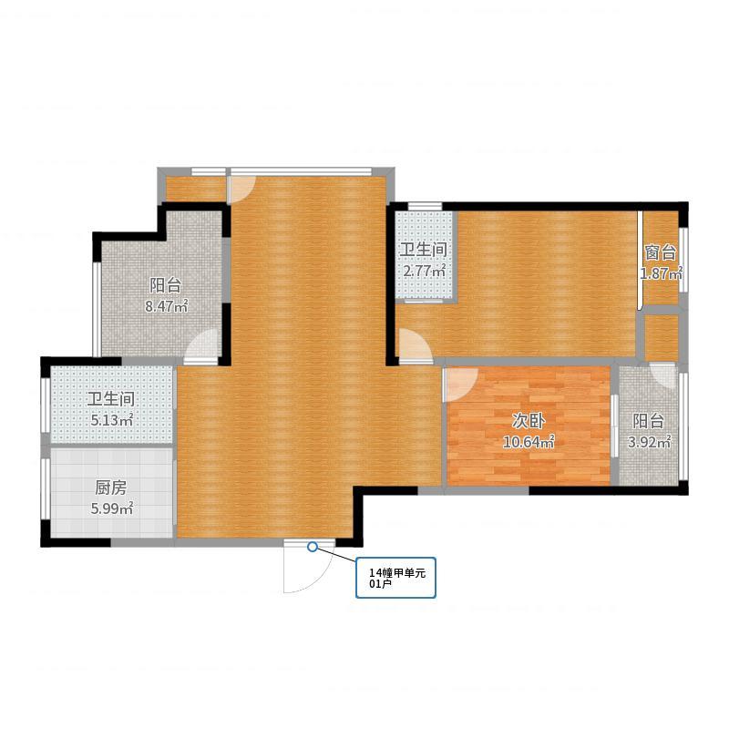 2室2厅2卫1厨户型图户型图