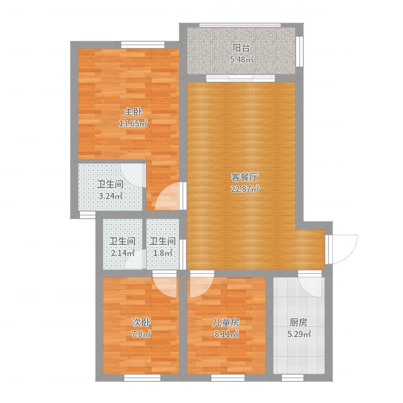 海赋尚城三房两卫户型图
