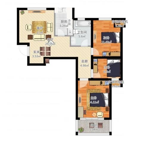 龙德花园3室1厅1卫1厨98.00㎡户型图