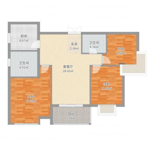中天虹桥花园3室2厅2卫1厨112.00㎡户型图